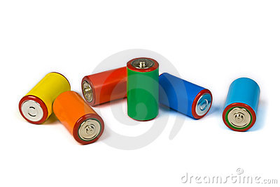 Colorful batteries - renewable energy concept