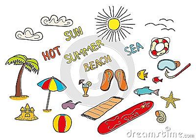 Colorful beach doodles