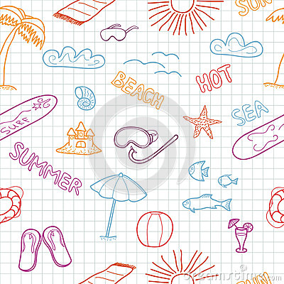 Colorful beach doodles