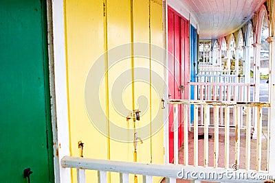 Colorful beach hut doors