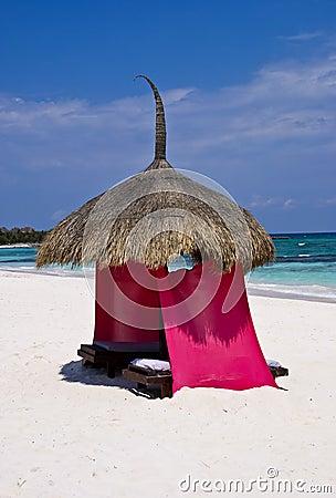 Colorful beach palapa