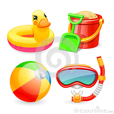 Free Colorful Beach Toys Icons Set Royalty Free Stock Photos - 55372058