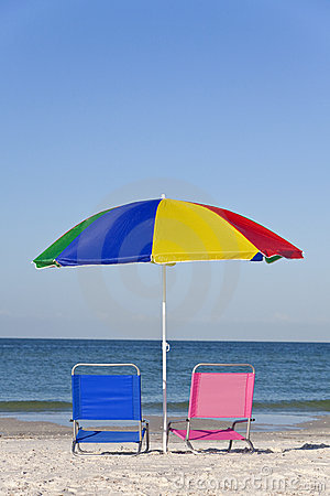 Colorful Beach Umbrella, Pink & Blue Deckchairs
