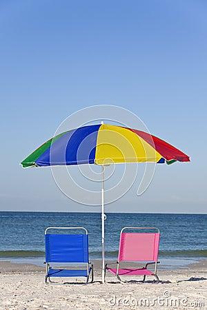 Colorful Beach Umbrella, Pink & Blue Deckchairs