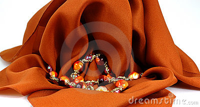 Colorful beads draped white