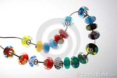 Colorful beads on wire