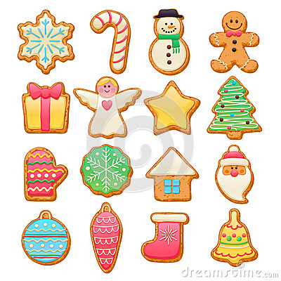 Free Colorful Beautiful Christmas Cookies Icons Set Royalty Free Stock Photography - 63009037