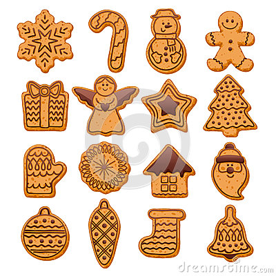 Free Colorful Beautiful Christmas Cookies Icons Set Stock Image - 63009051