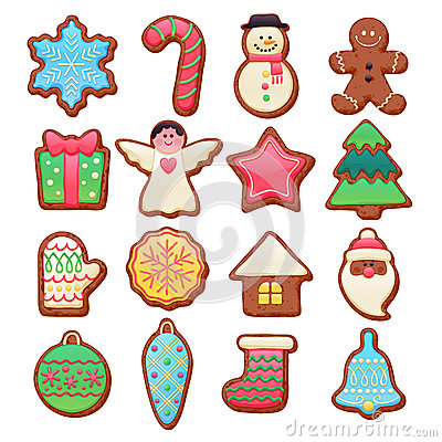 Free Colorful Beautiful Christmas Cookies Icons Set Royalty Free Stock Photos - 63009078