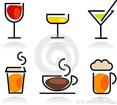 Colorful beverage icon set
