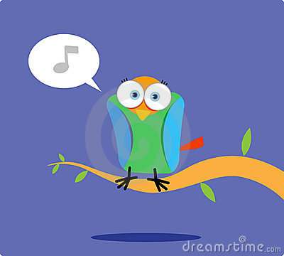 Colorful bird singing on the tree