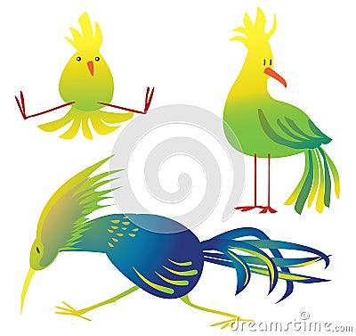 colorful birds cartoon illustration