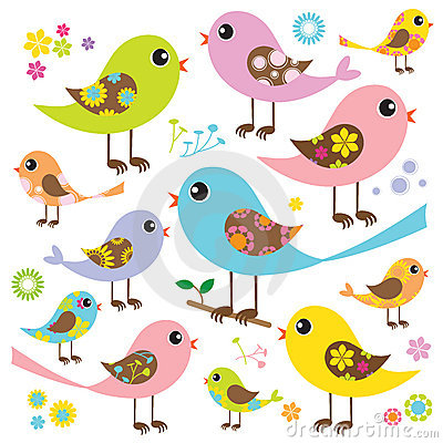 Colorful Birds with Floral Pattern
