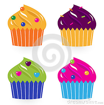 Colorful birthday cakes set isolated on white