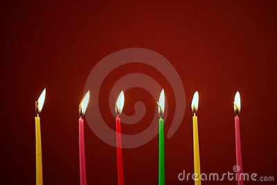 Colorful birthday candles in a row