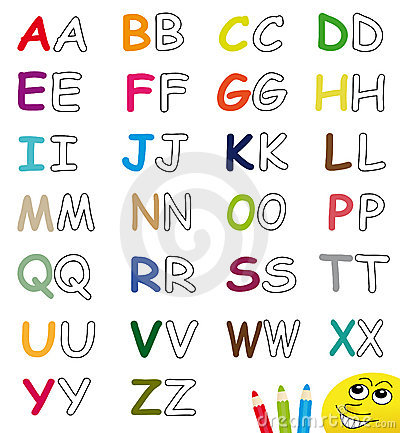 Colorful & blank alphabet letters