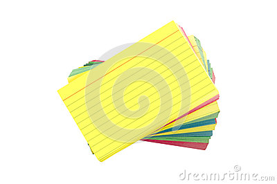 Colorful Blank Index Cards Fanned Out Isolated On White