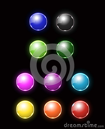 Colorful blank neon button