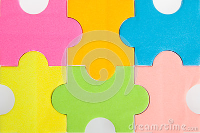 Colorful blank puzzle pieces