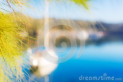Colorful blured yacht background blue sea summer Stock Photo