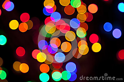 Colorful blurred bokeh lights