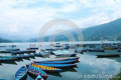 Colorful Boats On Beautiful phewa Lake,Pokhara, Nepal Stock Photo