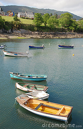 Colorful boats in Ireland