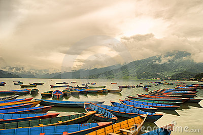 Colorful boats on Phewa lake