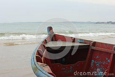 Colorful boats by the shore
