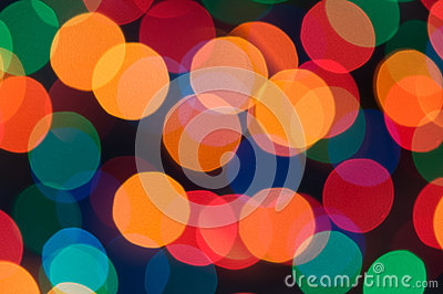 Colorful bokeh of christmas lights