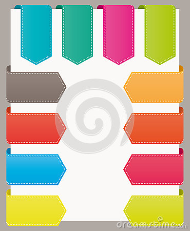 Colorful bookmarks website ribbons.