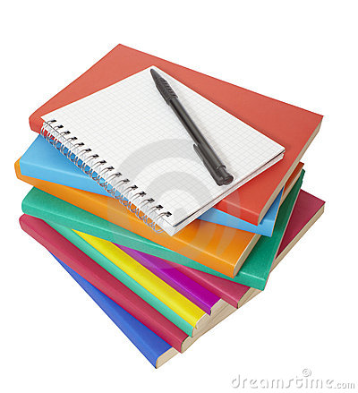 Free Colorful Books Stack  And Notebook Education Royalty Free Stock Photography - 12185897