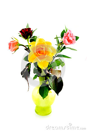 Colorful bouqet of roses in green vase