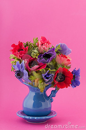 Colorful bouquet Anemones
