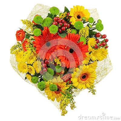 Colorful bouquet from gerberas isolated on white background.