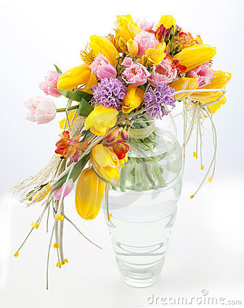 Free Colorful Bouquet Of Spring Flowers In Vase Royalty Free Stock Photos - 23444448