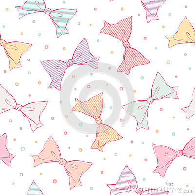 Colorful bows seamless pattern