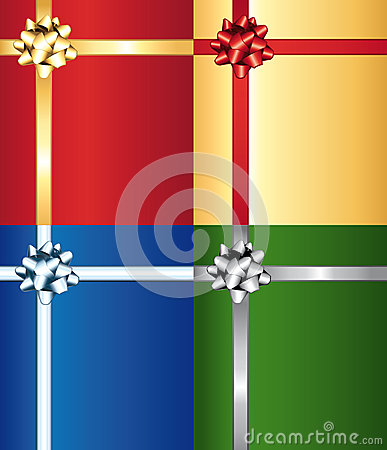 Colorful bows on wrap gifts set.
