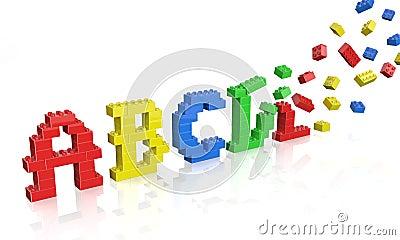 Colorful brick toys alphabet