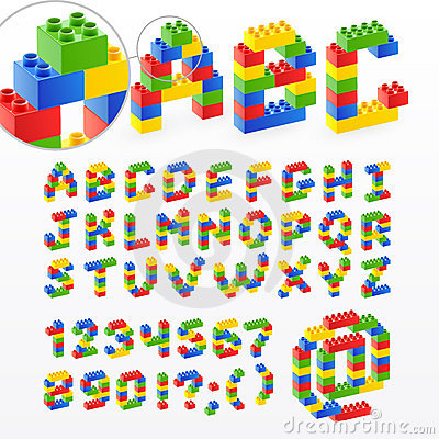 Free Colorful Brick Toys Font With Numbers Royalty Free Stock Image - 20127806