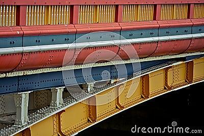A colorful bridge, transport vehicle
