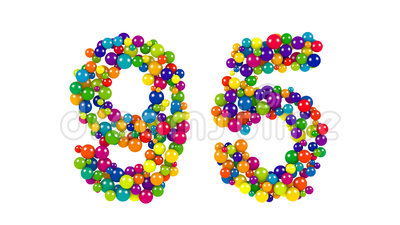 Colorful bright number 95 formed of small spheres. Or balls of different sizes in a creative decorative design isolated on white stock illustration