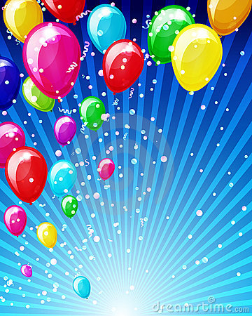 Colorful brightly backdrop with balloons.
