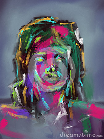 Colorful Brushstrokes Face - Digital Painting