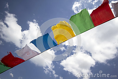 Colorful buddhist flags