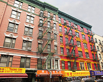Colorful building in chinatown. Editorial Stock Photo