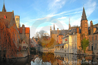 Colorful Buildings on Canal in Brugges, Belgium