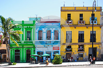 Colorful buildings in Havana Editorial Stock Image