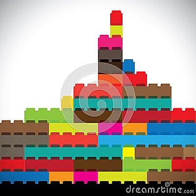 Colorful buildings of metropolitan city skyline bu