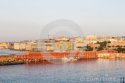 Colorful Buldings in Port of Naples at Dawn
